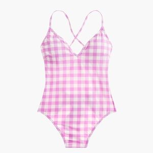 J.Crew Lace-up back swimsuit matte gingham